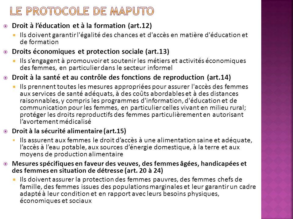 Le Protocole de Maputo Droit à l'éducation et à la formation (art.12)