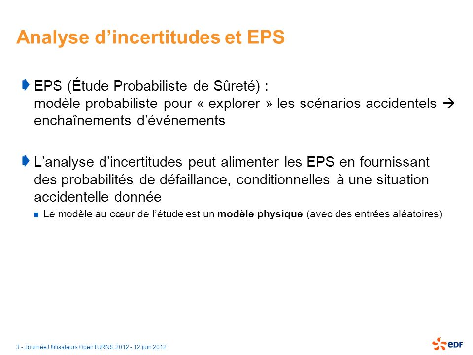Analyse d'incertitudes et EPS