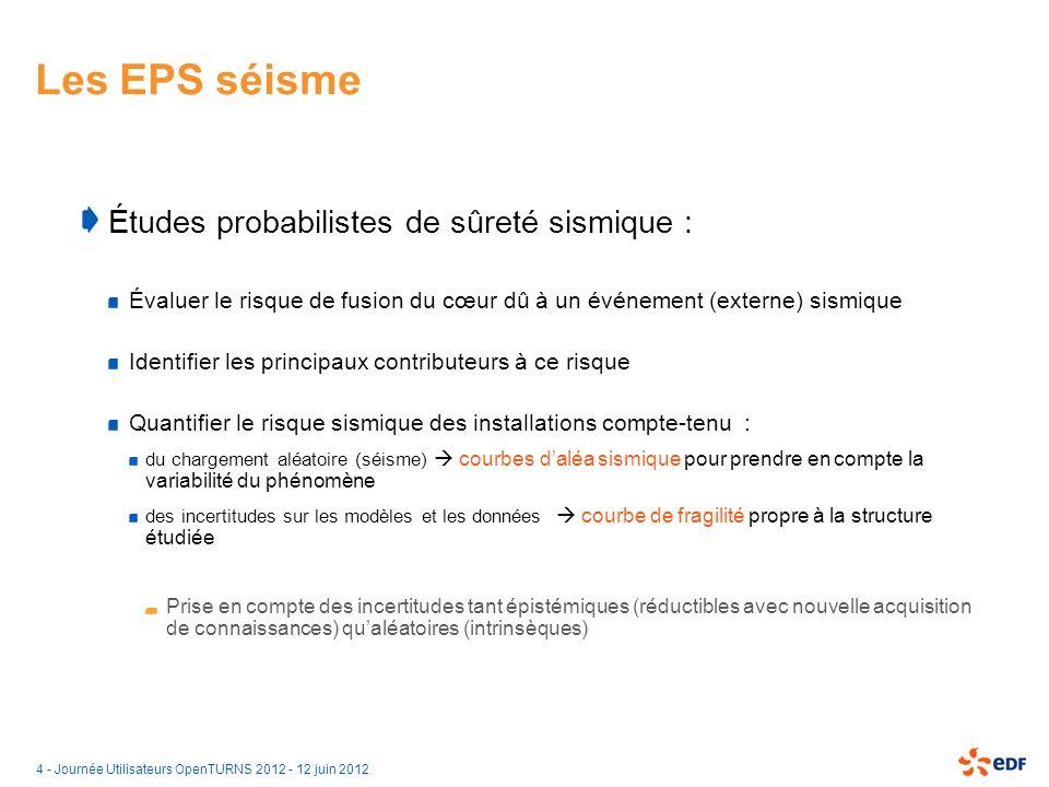 Les EPS séisme Études probabilistes de sûreté sismique :