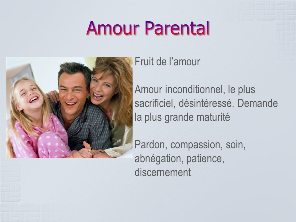 Amour Parental Fruit de l'amour