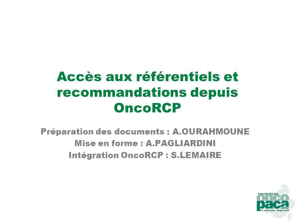Accès aux référentiels et recommandations depuis OncoRCP