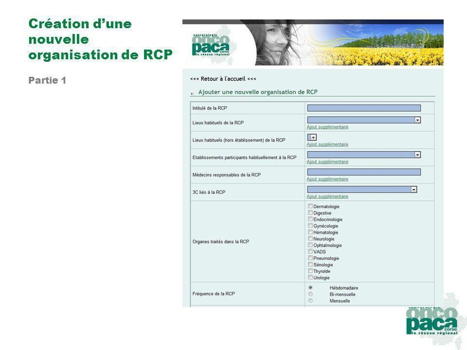 Création d'une nouvelle organisation de RCP