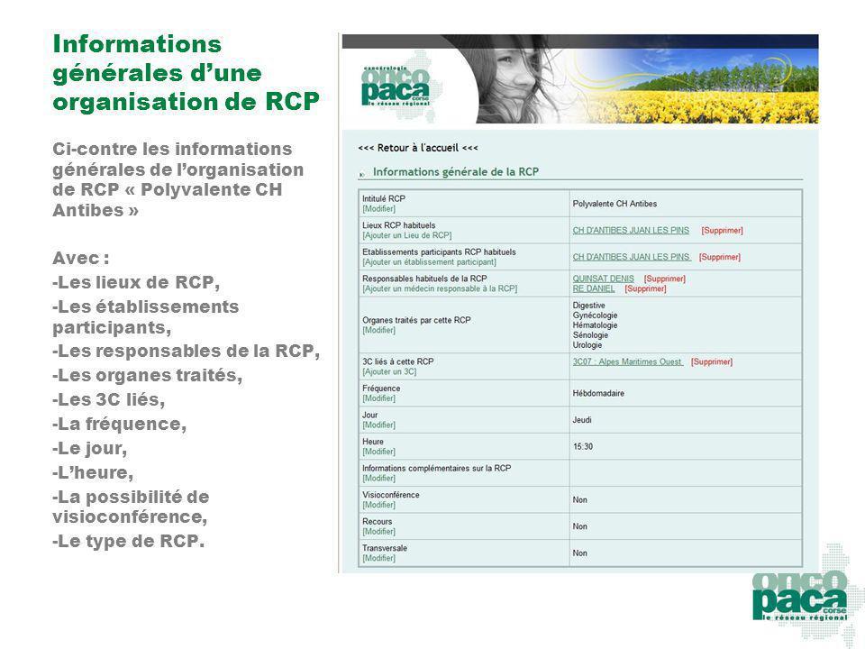 Informations générales d'une organisation de RCP