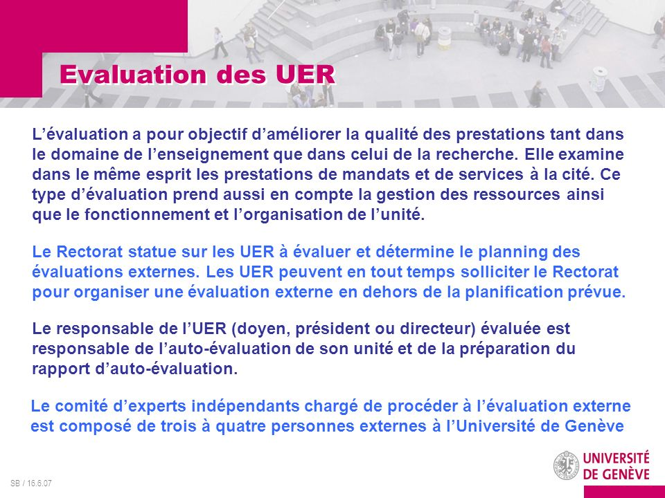 Evaluation des UER