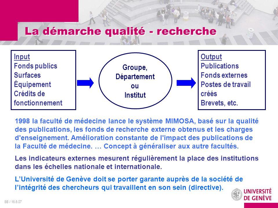 La démarche qualité - recherche