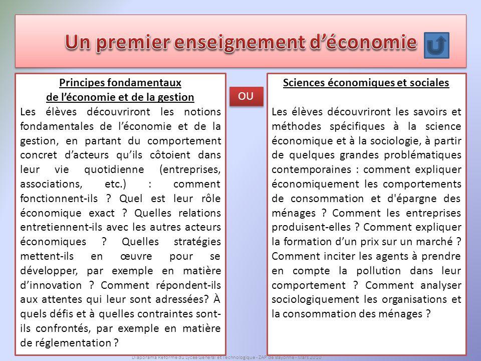Un premier enseignement d'économie