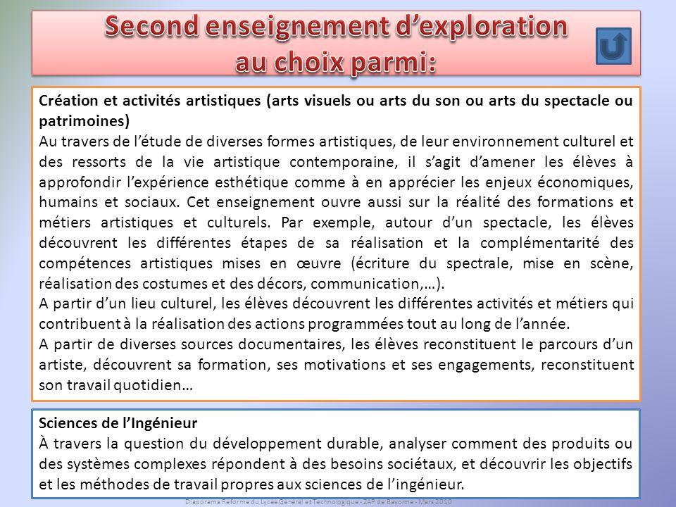 Second enseignement d'exploration au choix parmi: