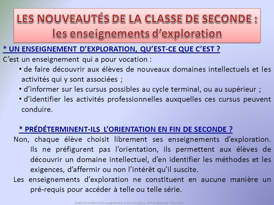 LES NOUVEAUTÉS DE LA CLASSE DE SECONDE :