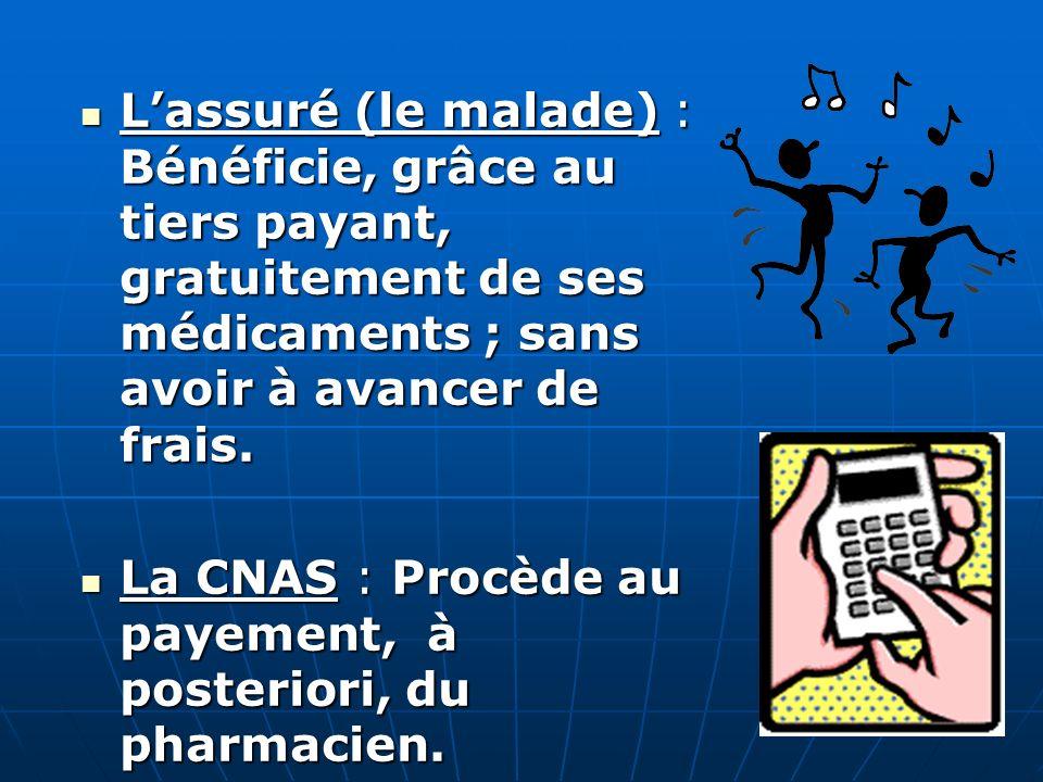 L'assuré (le malade) : Bénéficie, grâce au tiers payant, gratuitement de ses médicaments ; sans avoir à avancer de frais.