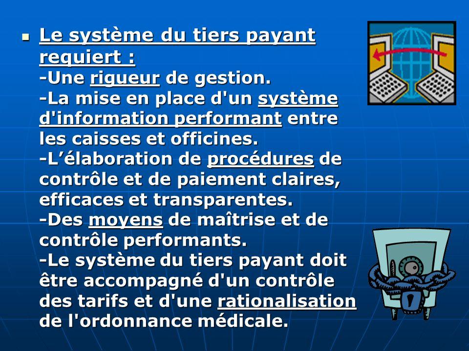 Le système du tiers payant requiert : -Une rigueur de gestion