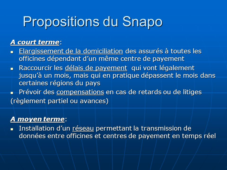 Propositions du Snapo A court terme: