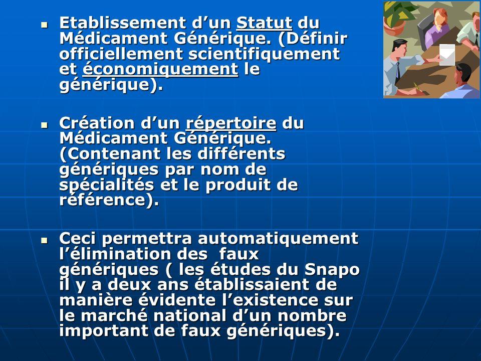 Etablissement d'un Statut du Médicament Générique