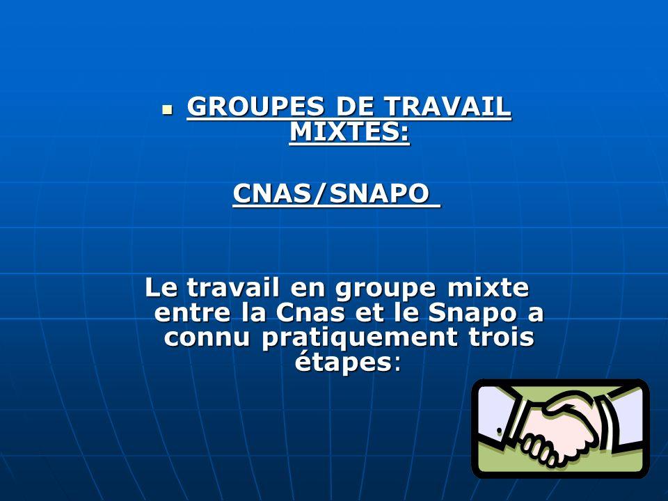 GROUPES DE TRAVAIL MIXTES: