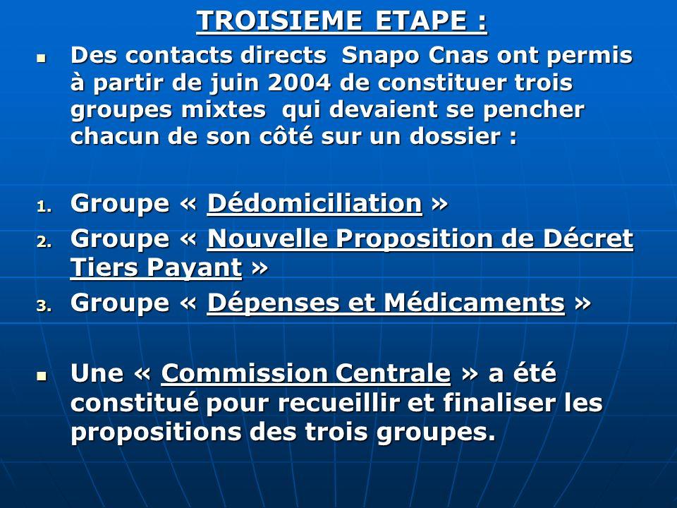 TROISIEME ETAPE : Groupe « Dédomiciliation »