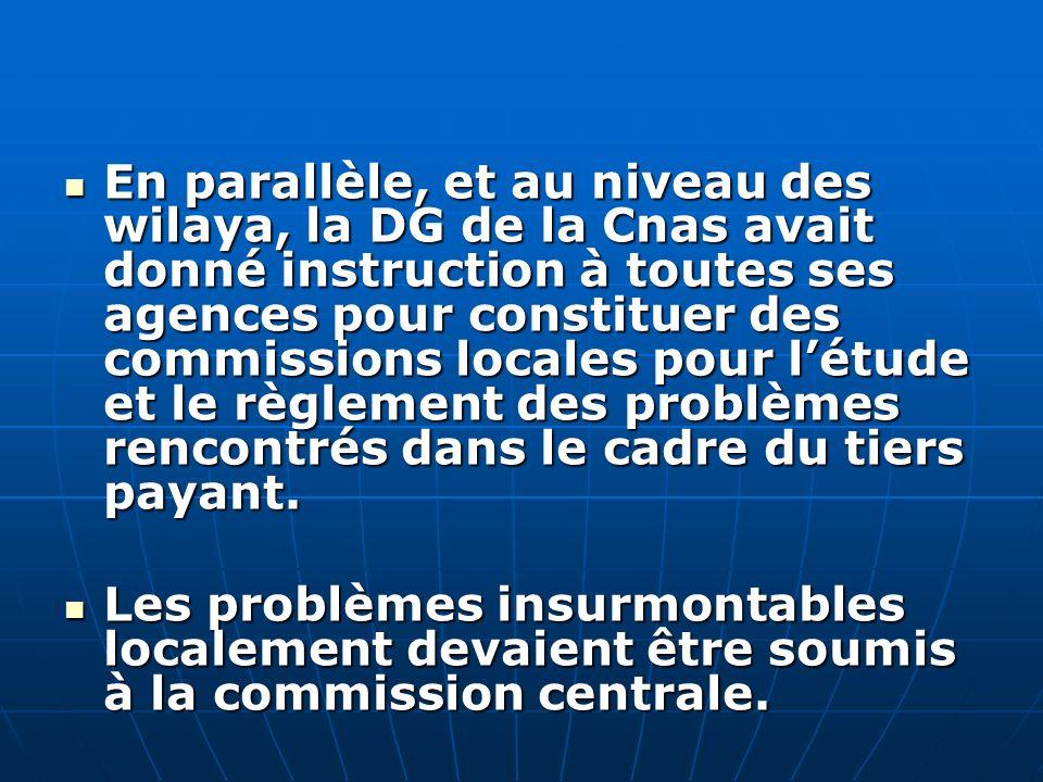 En parallèle, et au niveau des wilaya, la DG de la Cnas avait donné instruction à toutes ses agences pour constituer des commissions locales pour l'étude et le règlement des problèmes rencontrés dans le cadre du tiers payant.