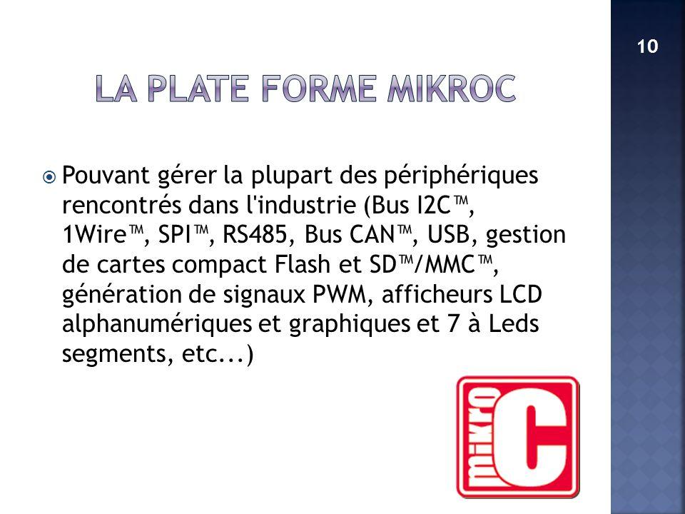 LA PLATE FORME MikroC 10.