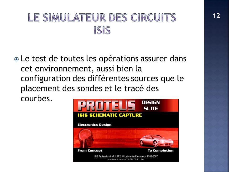LE SIMULATEUR DES CIRCUITS ISIS