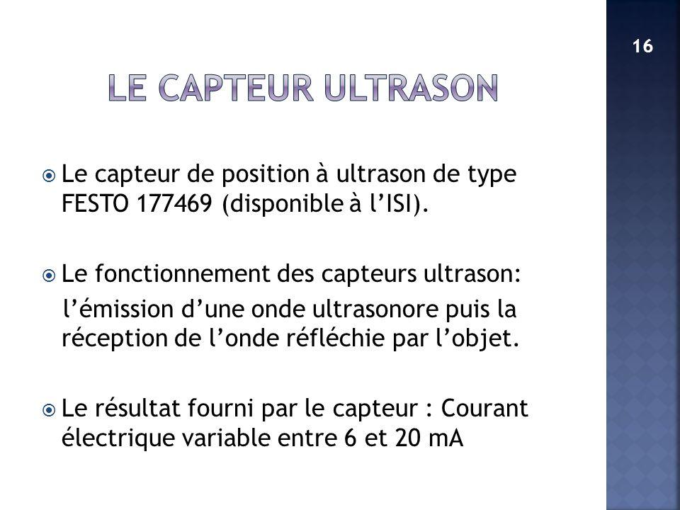 LE CAPTEUR ULTRASON 16. Le capteur de position à ultrason de type FESTO 177469 (disponible à l'ISI).