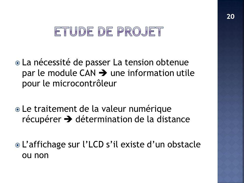ETUDE DE PROJET 20. La nécessité de passer La tension obtenue par le module CAN  une information utile pour le microcontrôleur.