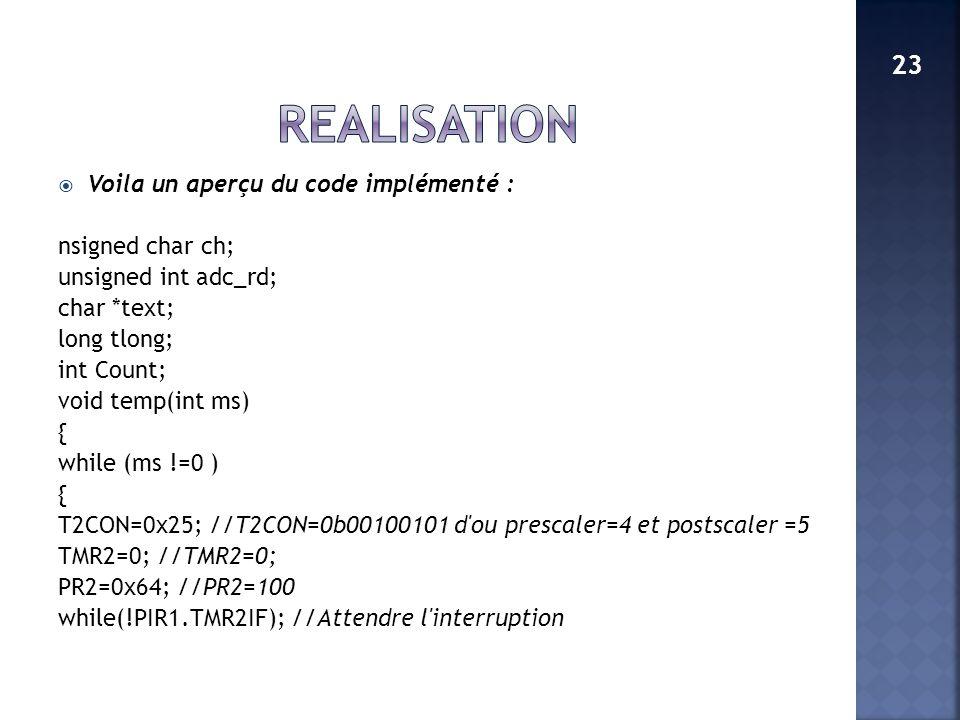 REALISATION 23 Voila un aperçu du code implémenté : nsigned char ch;
