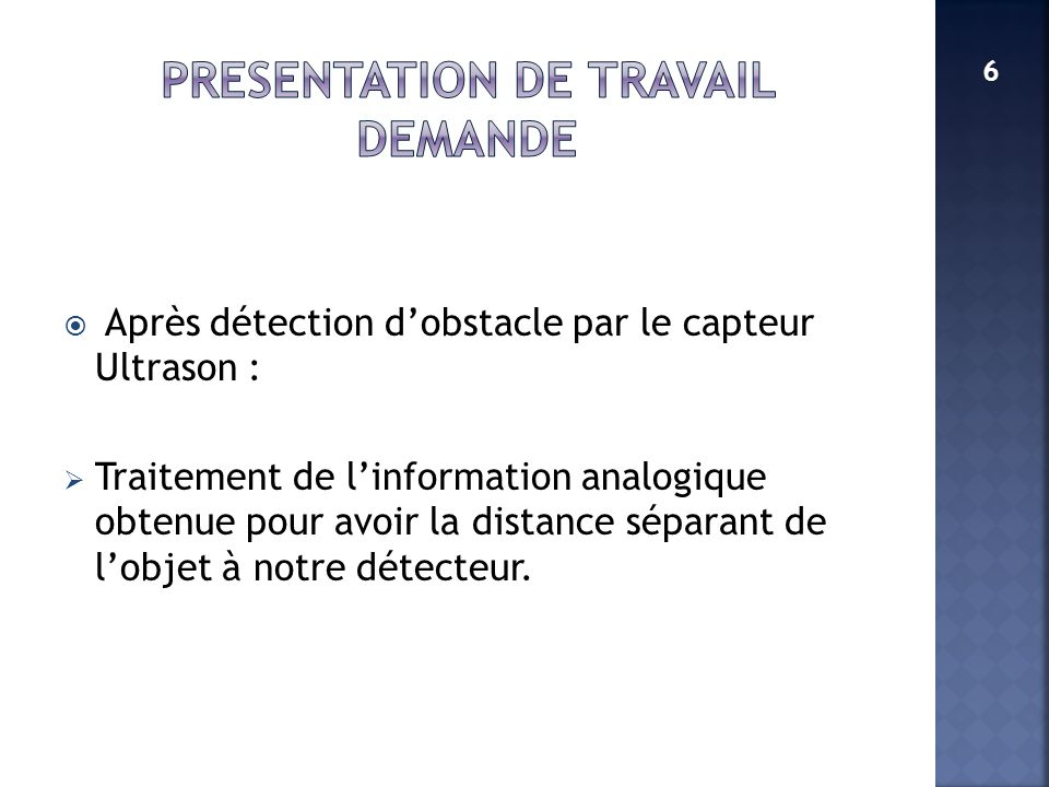PRESENTATION DE TRAVAIL DEMANDE