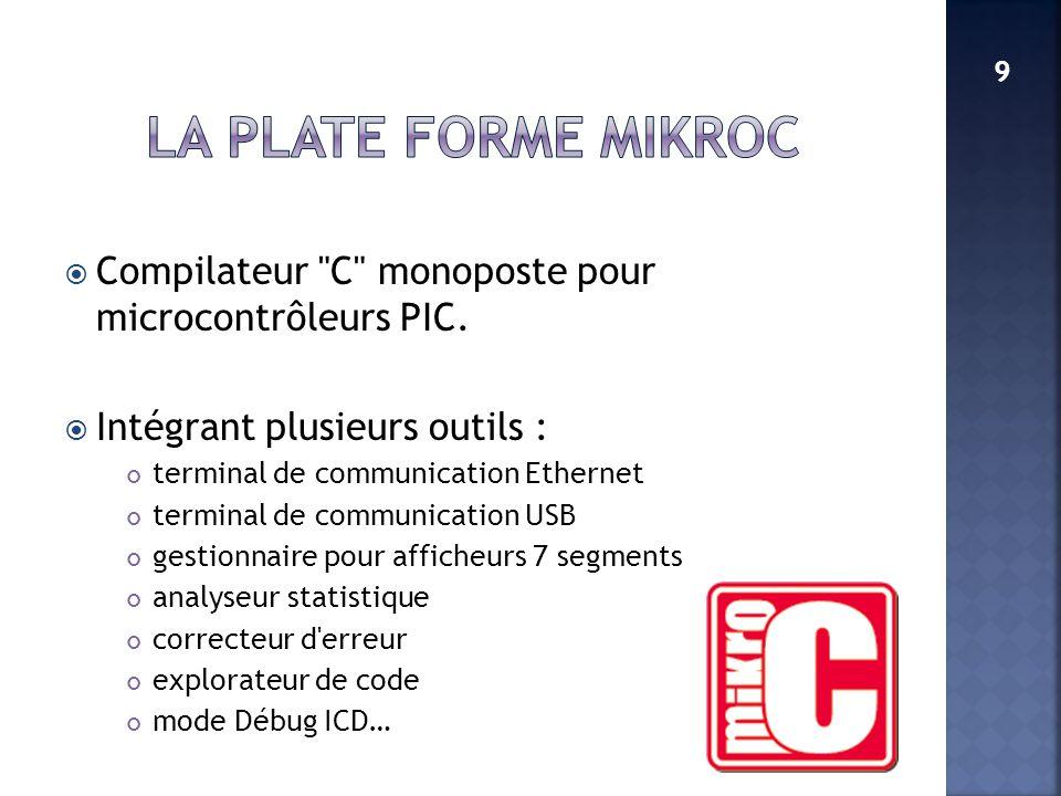 LA PLATE FORME MikroC 9. Compilateur C monoposte pour microcontrôleurs PIC. Intégrant plusieurs outils :