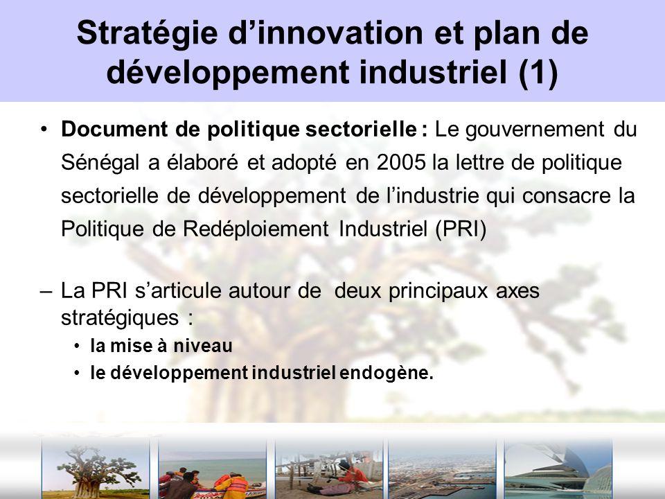 Stratégie d'innovation et plan de développement industriel (1)