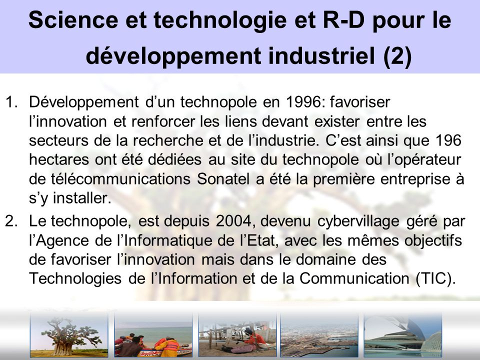 Science et technologie et R-D pour le développement industriel (2)