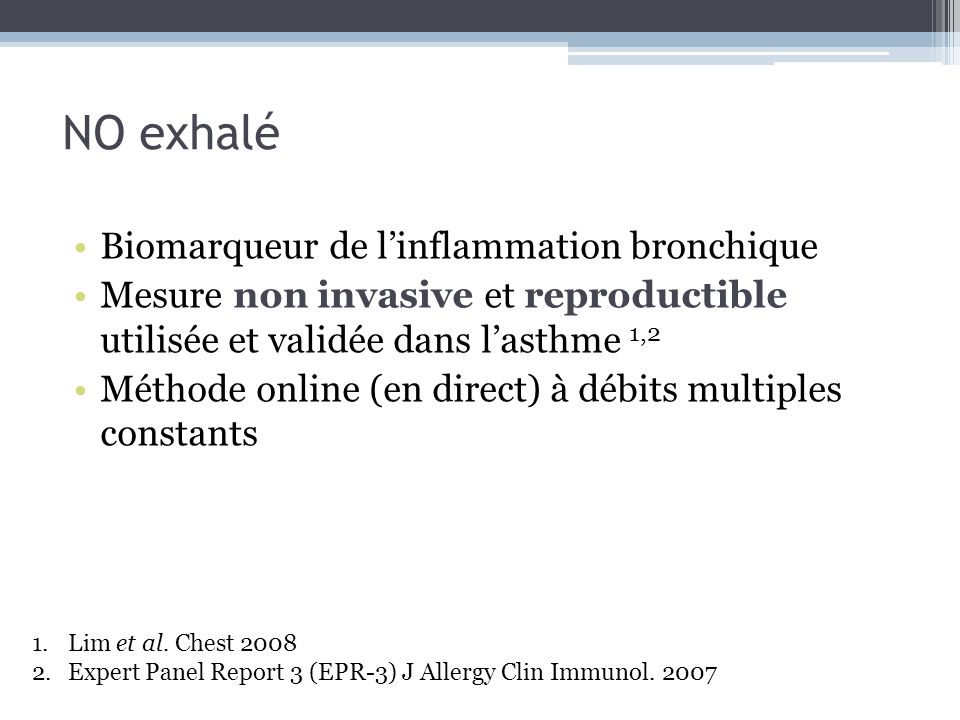 NO exhalé Biomarqueur de l'inflammation bronchique