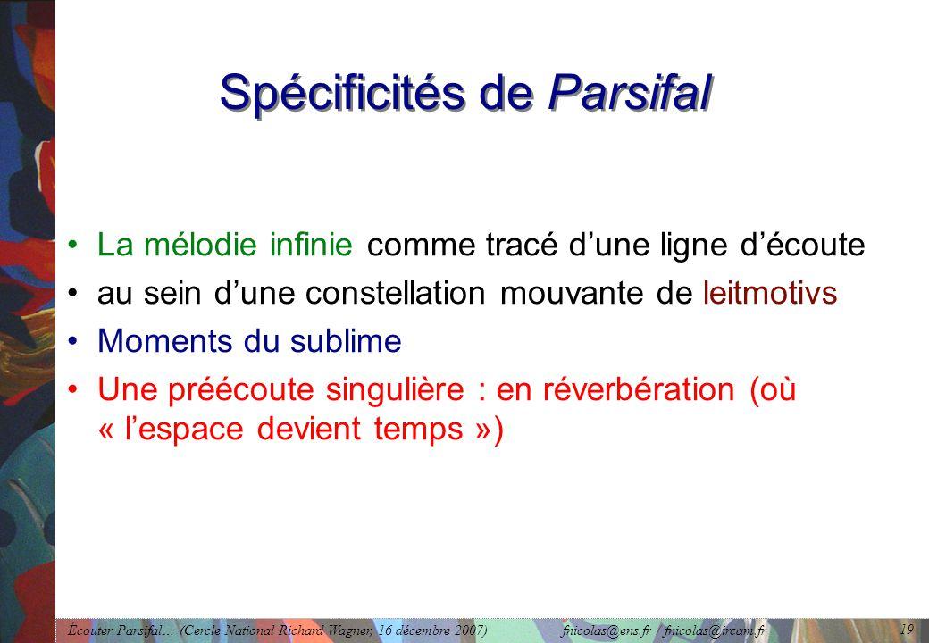 Spécificités de Parsifal