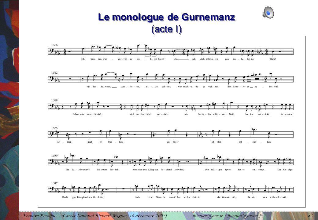 Le monologue de Gurnemanz (acte I)