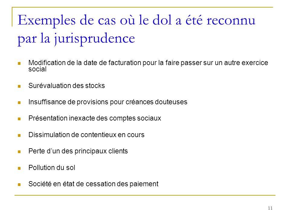 Exemples de cas où le dol a été reconnu par la jurisprudence