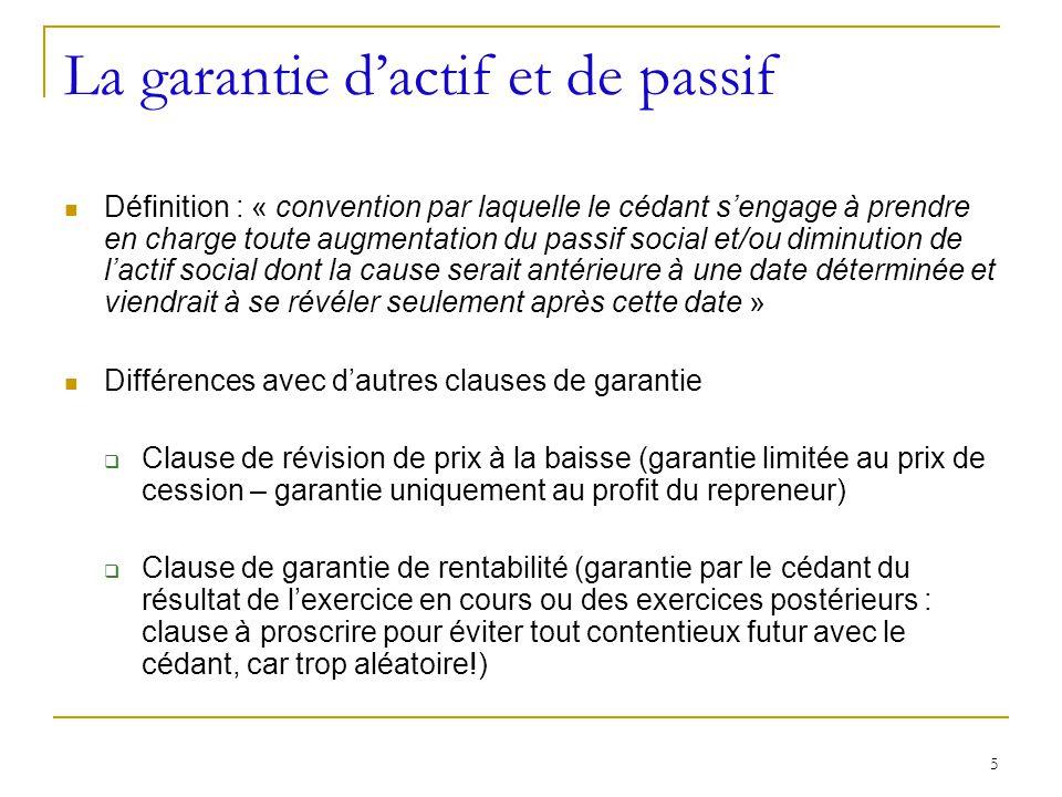 La garantie d'actif et de passif