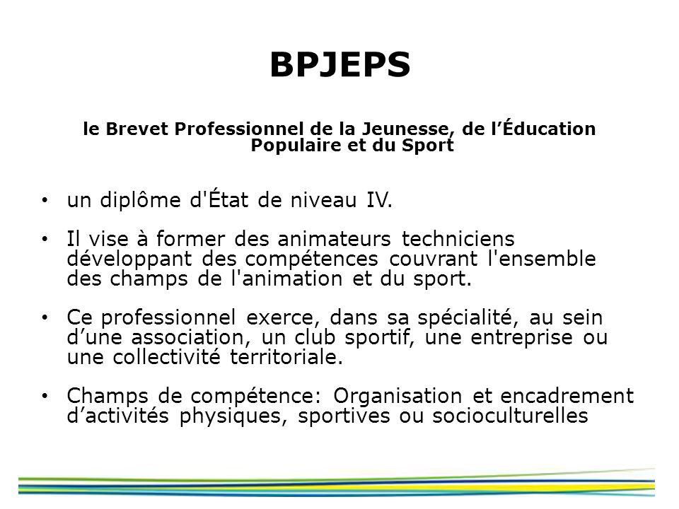 BPJEPS un diplôme d État de niveau IV.