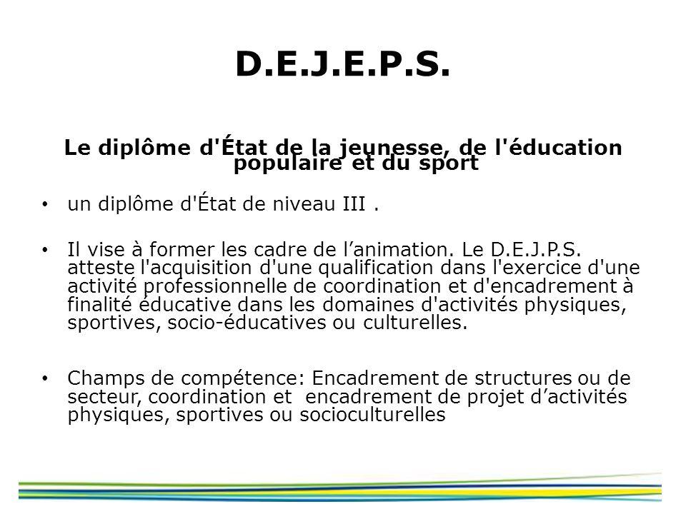 Le diplôme d État de la jeunesse, de l éducation populaire et du sport