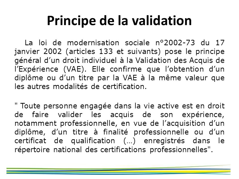 Principe de la validation