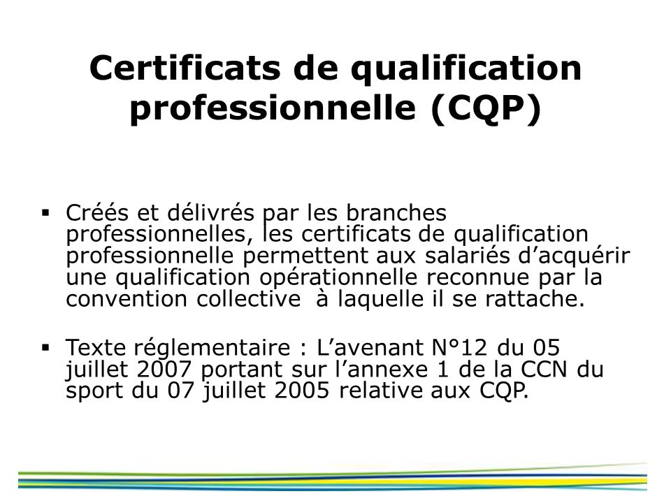 Certificats de qualification professionnelle (CQP)