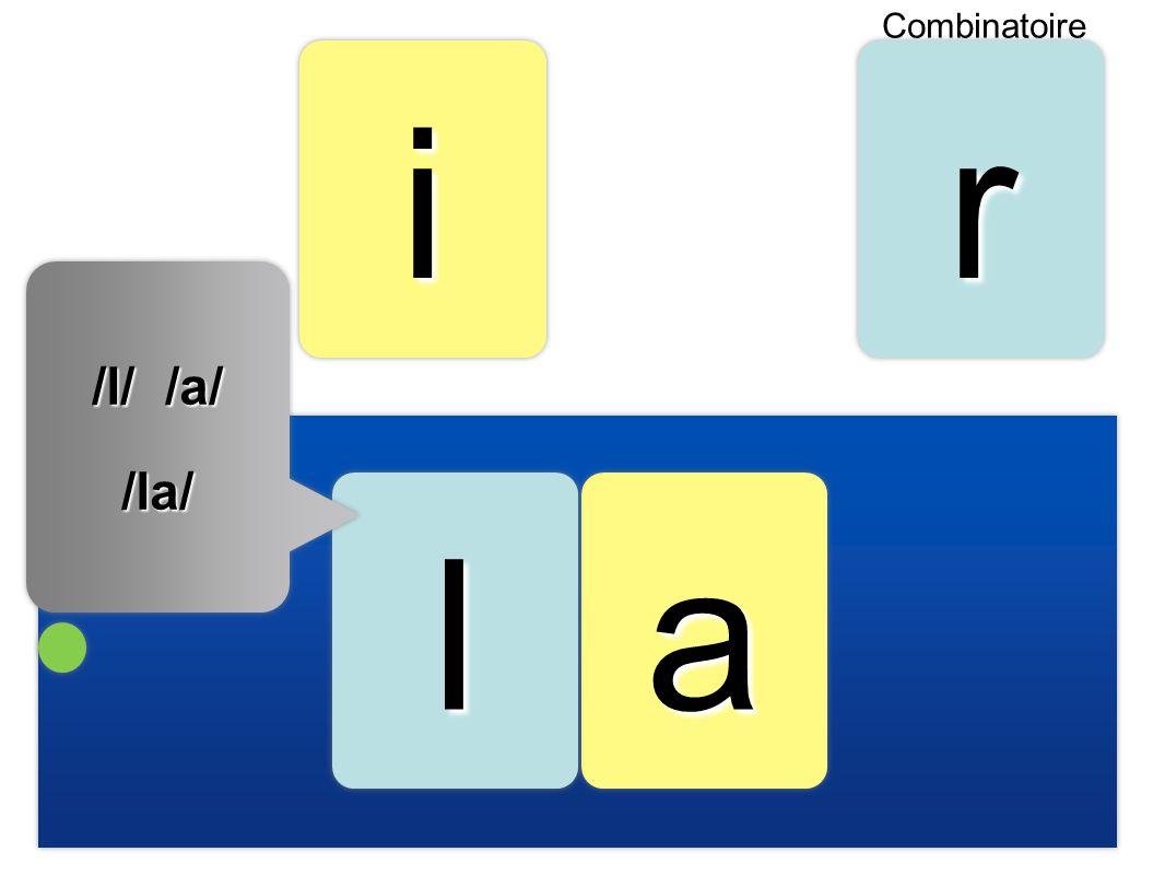 i r l a /l/ /a/ /la/ Combinatoire