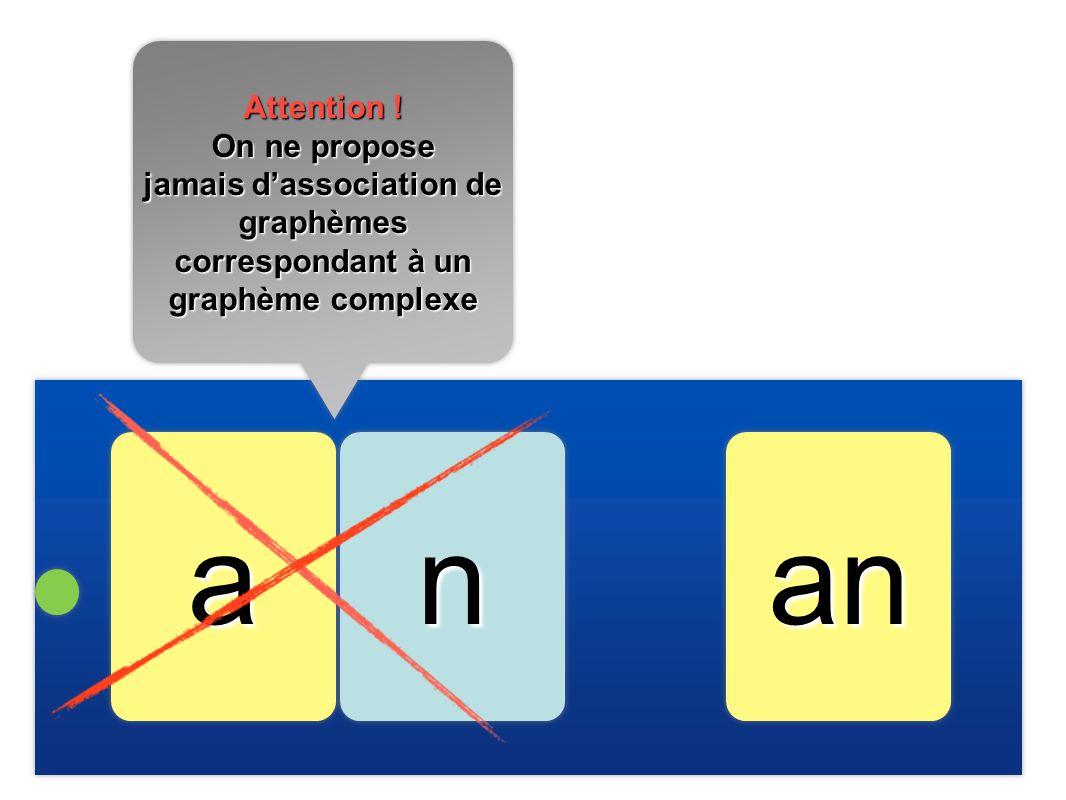 jamais d'association de graphèmes correspondant à un graphème complexe