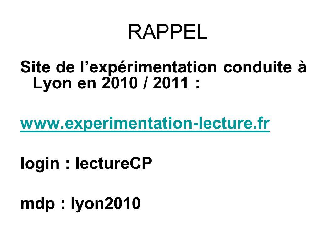 RAPPEL Site de l'expérimentation conduite à Lyon en 2010 / 2011 :
