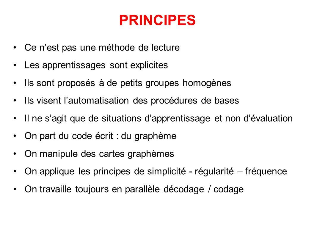 PRINCIPES Ce n'est pas une méthode de lecture