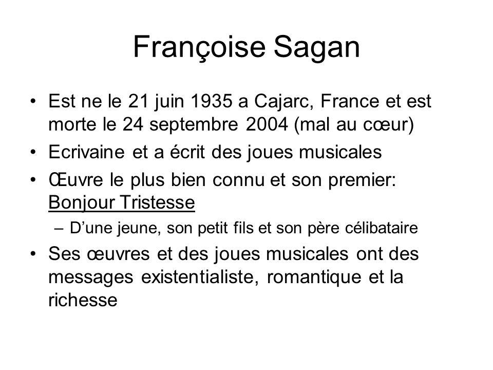 Françoise Sagan Est ne le 21 juin 1935 a Cajarc, France et est morte le 24 septembre 2004 (mal au cœur)