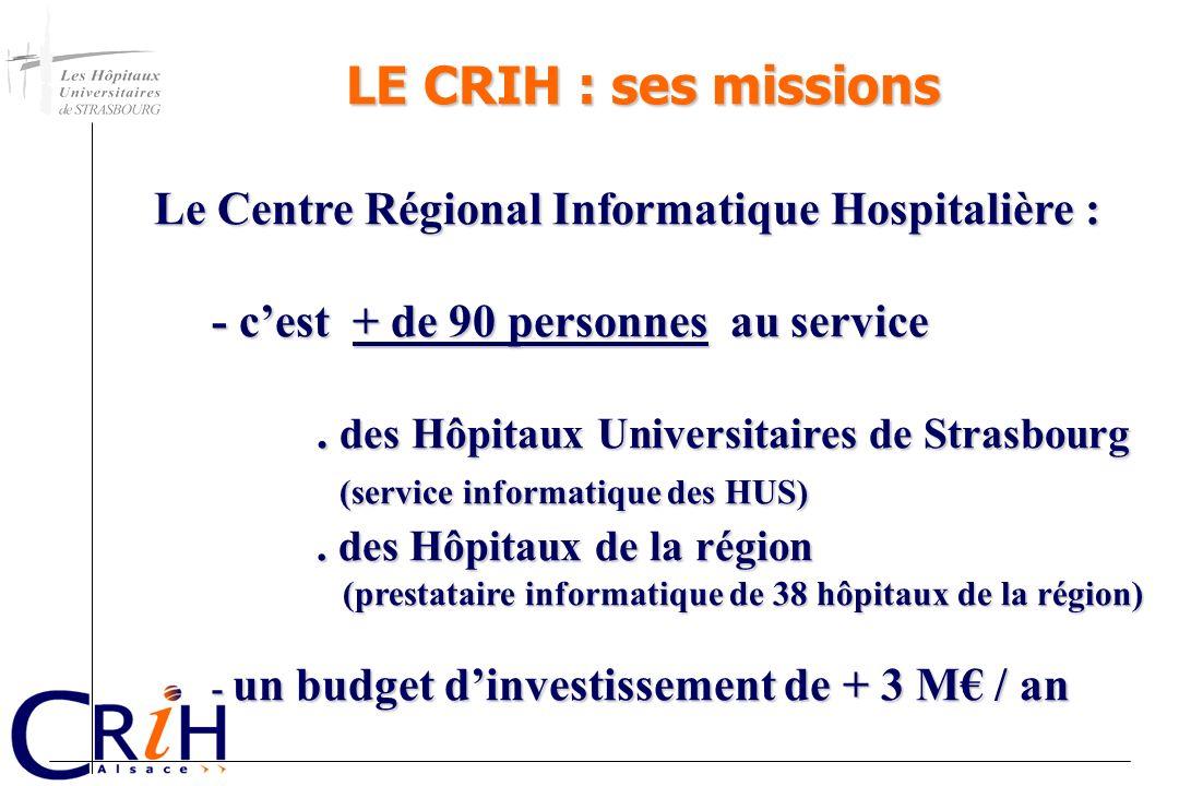 LE CRIH : ses missions Le Centre Régional Informatique Hospitalière :