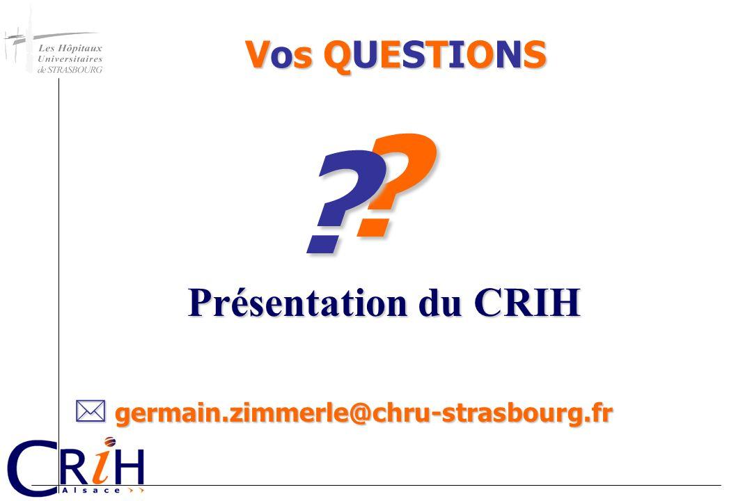 Présentation du CRIH Vos QUESTIONS