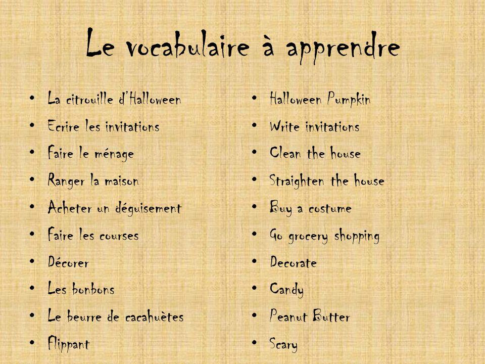 Le vocabulaire à apprendre
