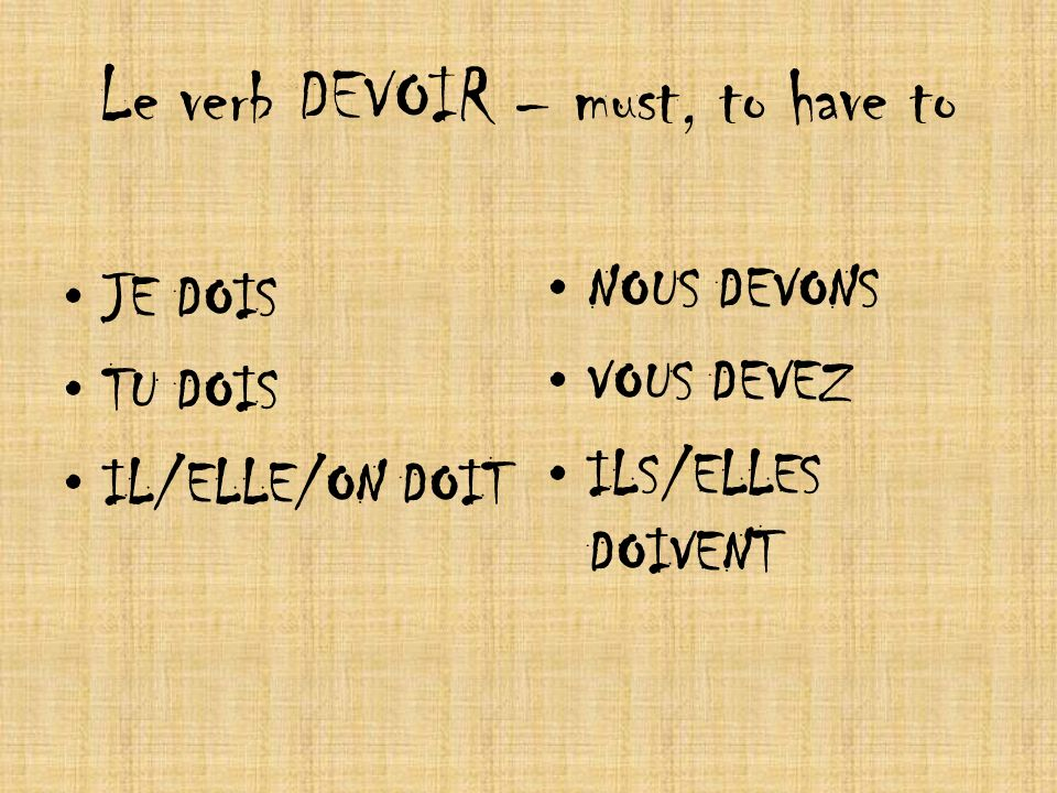 Le verb DEVOIR – must, to have to