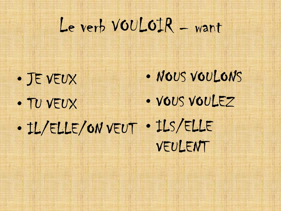 Le verb VOULOIR – want NOUS VOULONS JE VEUX VOUS VOULEZ TU VEUX