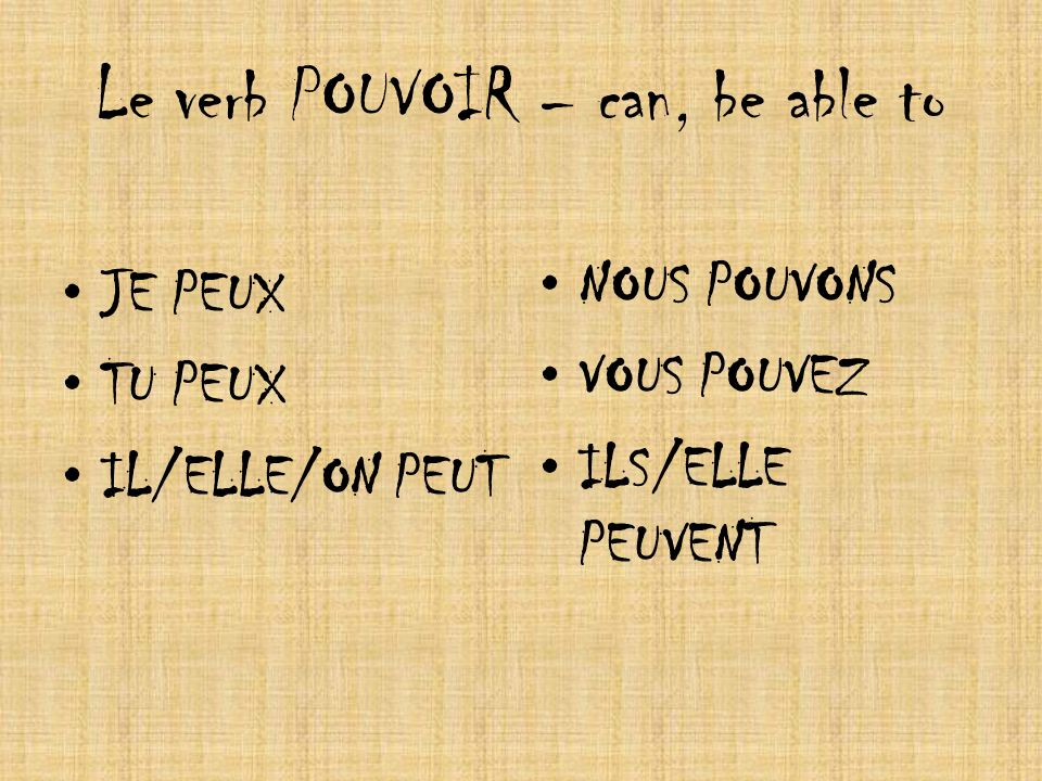 Le verb POUVOIR – can, be able to