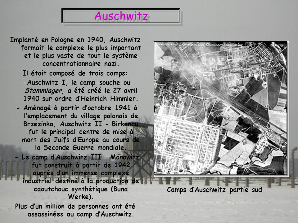 Il était composé de trois camps: Camps d'Auschwitz partie sud