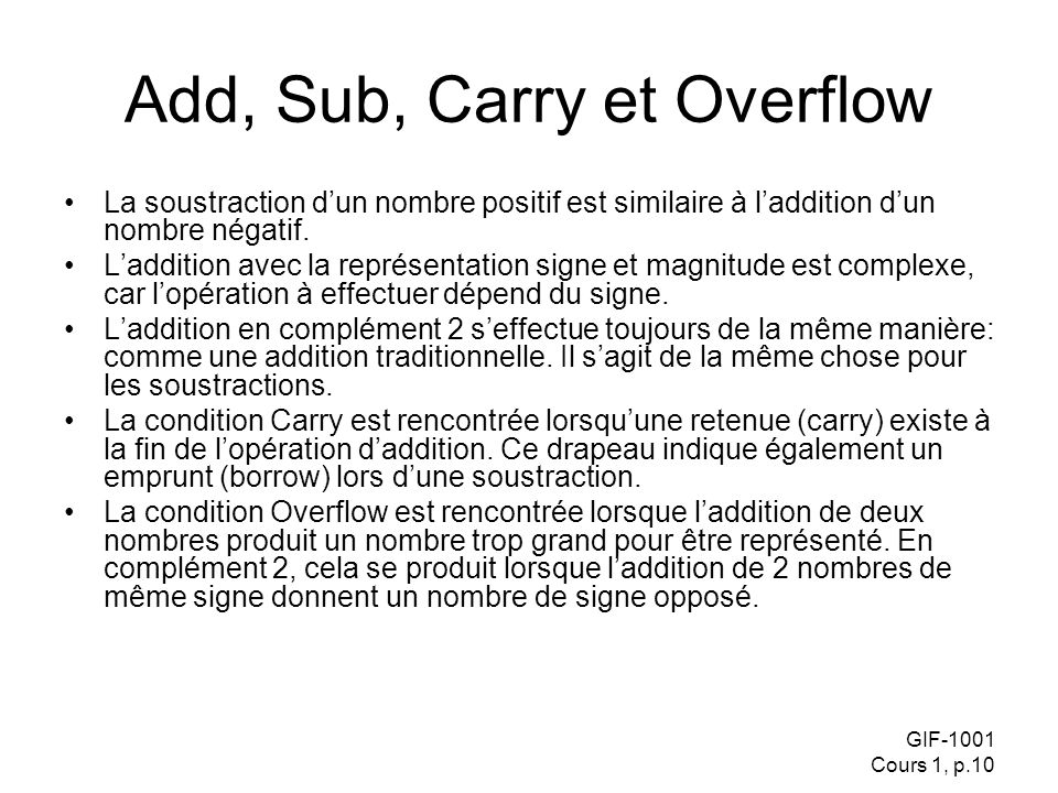 Add, Sub, Carry et Overflow